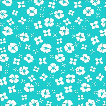 White Flowers on Aqua by 2HivelysArt