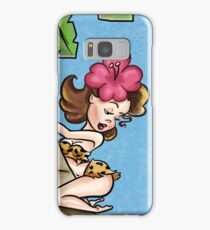 Brunette Cartoon Pinup Climbing a Palm Tree Samsung Galaxy Case/Skin