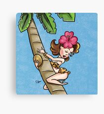 Brunette Cartoon Pinup Climbing a Palm Tree Canvas Print