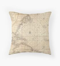 Antique Map - Mortier's Atlantic Ocean (1683) Throw Pillow