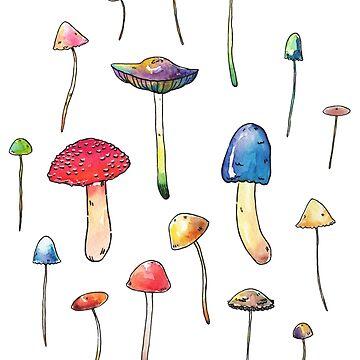 Watercolor Mushrooms by seasofstars