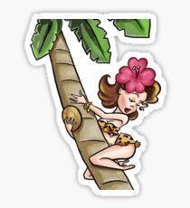 Brunette Cartoon Pinup Climbing a Palm Tree Sticker