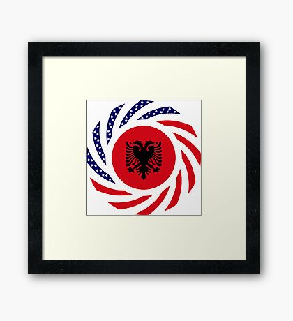Albanian American Multinational Patriot Flag Series Framed Print