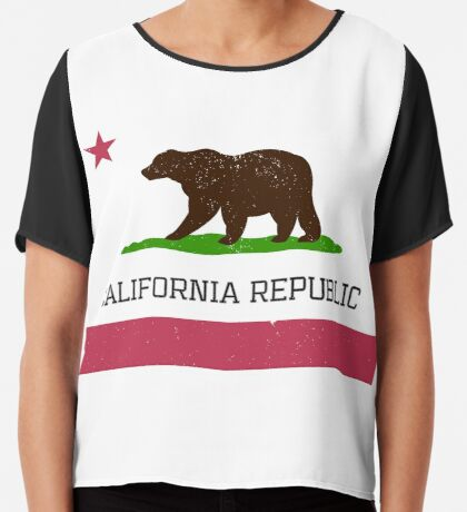 Vintage California Republic Flag Chiffon Top