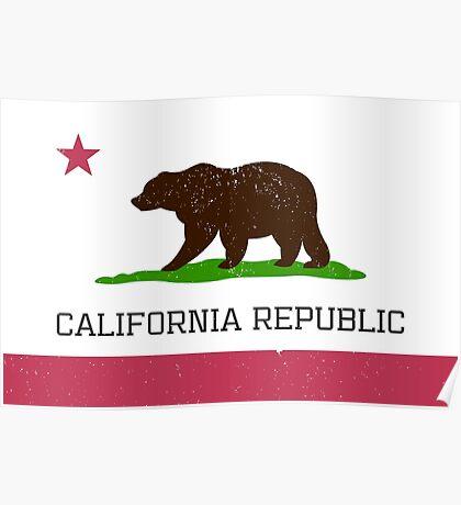 Vintage California Republic Flag Poster