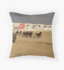 trotting races Throw Pillow
