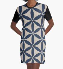 Indigo + Linen Flower of Life Pattern Graphic T-Shirt Dress