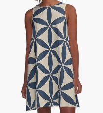 Indigo + Linen Flower of Life Pattern A-Line Dress