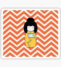 Yellow Kokeshi on Chevron Pattern Sticker