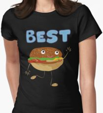 Matching Burger and French Fries Best Friends Design Women's Fitted T-Shirt