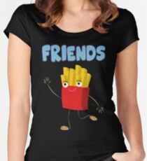 Matching Burger and French Fries Best Friends Design Women's Fitted Scoop T-Shirt