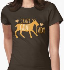 Crazy GOAT lady Womens Fitted T-Shirt