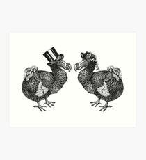 Mr and Mrs Dodo   Black and White Art Print