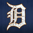 Detroit Tigers Vintage Logo Recycled License Plate Art by designturnpike