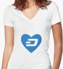 Love Dash Coin Women's Fitted V-Neck T-Shirt
