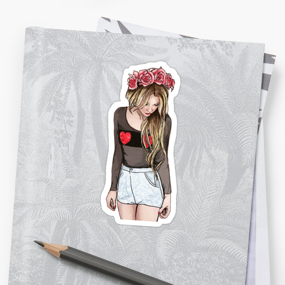 Tumblr flower crown girl stickers by daniellejoy redbubble tumblr flower crown girl by daniellejoy izmirmasajfo Image collections