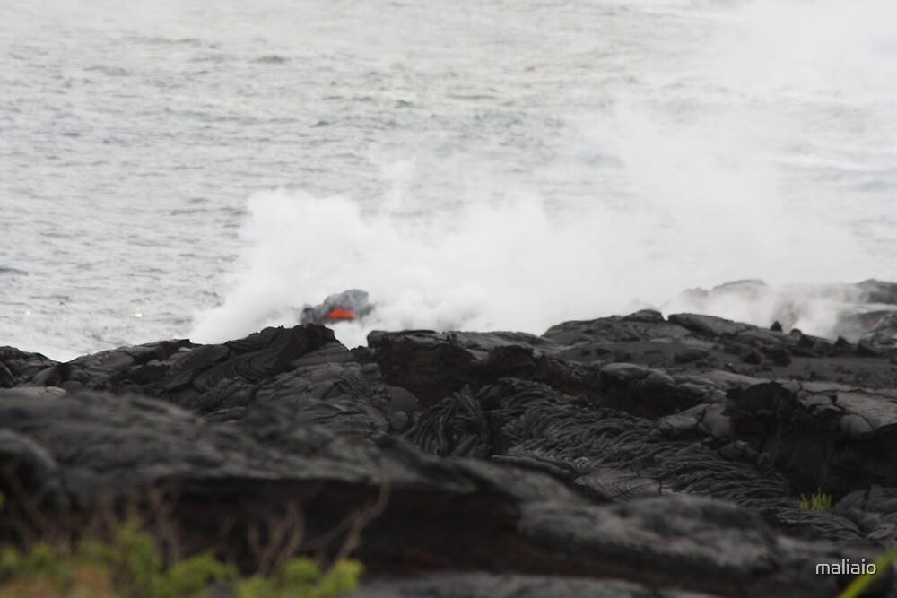 Lava Entering the Sea by maliaio