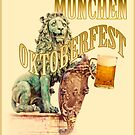 Lion, symbol of Bavaria celebrates with a beer glass the Oktoberfest beer festival in Munich by gameover