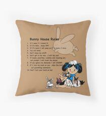 Bunny Rabbit House Rules Tshirts Decor Funny Cartoon Throw Pillow