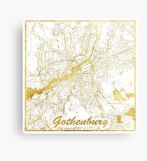Gothenburg Map Gold Canvas Print
