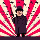 Churchill with a Tommy Gun by drawgood