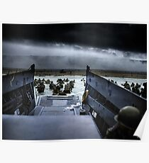 Men of the 16th Infantry Regiment, U.S. 1st Infantry Division wade ashore on Omaha Beach on the morning of 6 June 1944 #DDay Poster