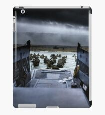 Men of the 16th Infantry Regiment, U.S. 1st Infantry Division wade ashore on Omaha Beach on the morning of 6 June 1944 #DDay iPad Case/Skin
