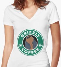 Grizzly Coffee Women's Fitted V-Neck T-Shirt