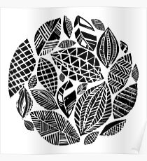 Geometrical nature print / little geometric leaves Poster