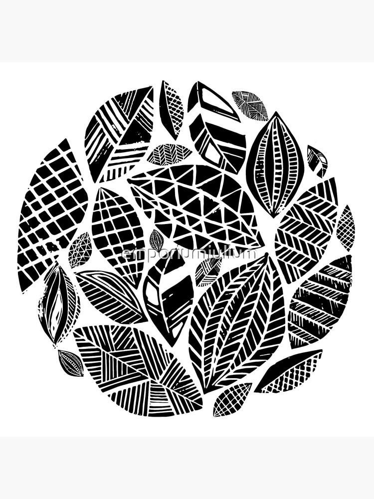 Geometrical nature print / little geometric leaves by emporiumjulium