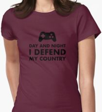 Day And Night I Defend My Country Womens Fitted T-Shirt