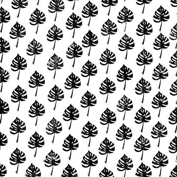 Monstera leaf, lino cut printed pattern, nature inspired, handmade, black and white by emporiumjulium