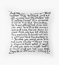 Alice in Wonderland text print, Lino cut printed text pattern for book lovers Throw Pillow