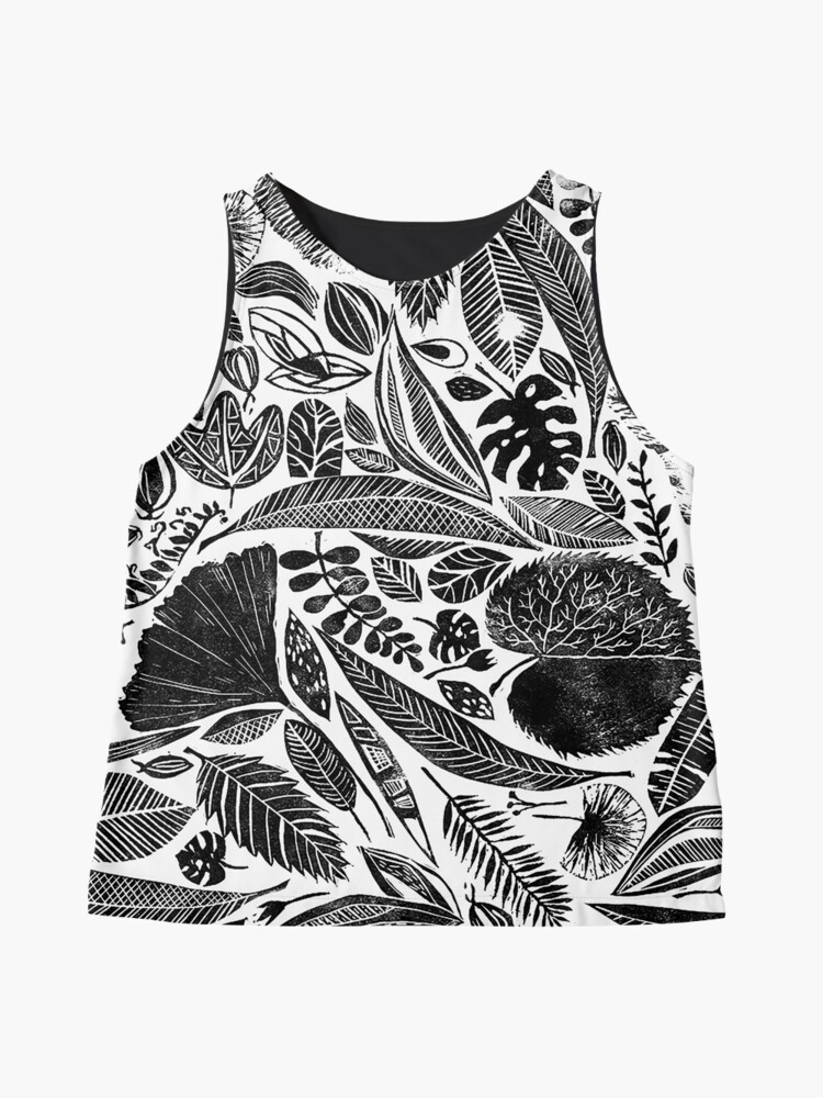 Alternative Ansicht von Gemischte Blätter, Lino Schnitt gedruckte Natur inspiriert Hand gedruckt Muster Ärmelloses Top