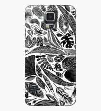 Mixed leaves, Lino cut printed nature inspired hand printed pattern Case/Skin for Samsung Galaxy