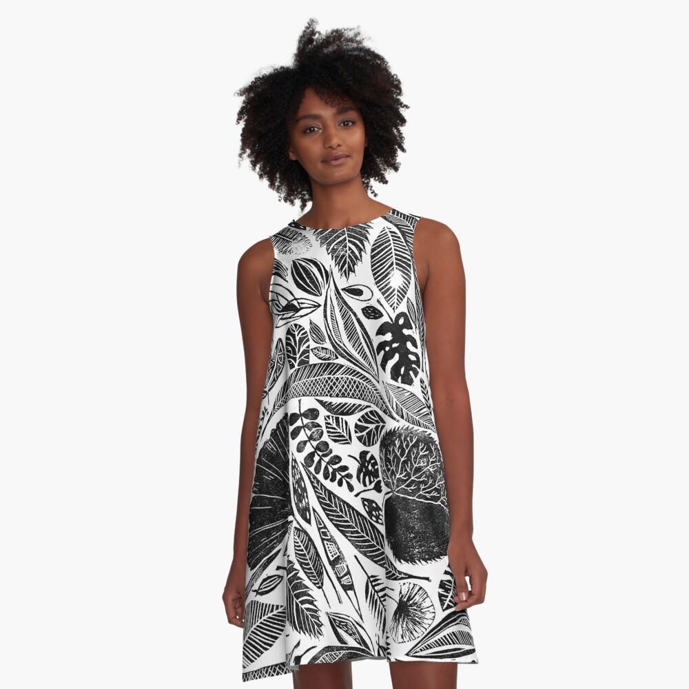 Gemischte Blätter, Lino Schnitt gedruckte Natur inspiriert Hand gedruckt Muster A-Linien Kleid