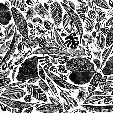 Mixed leaves, Lino cut printed nature inspired hand printed pattern by emporiumjulium