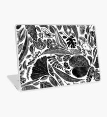 Mixed leaves, Lino cut printed nature inspired hand printed pattern Laptop Skin
