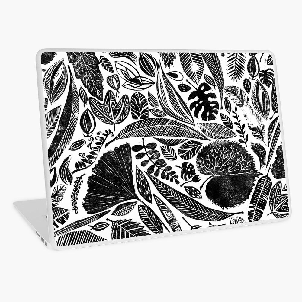 Gemischte Blätter, Lino Schnitt gedruckte Natur inspiriert Hand gedruckt Muster Laptop Folie
