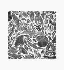 Mixed leaves, Lino cut printed nature inspired hand printed pattern Scarf