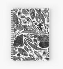 Cuaderno de espiral Hojas mezcladas, estampado a mano impreso inspirado en la naturaleza impresa en Lino
