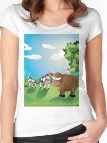 Cows and Bull on Lawn Women's Fitted Scoop T-Shirt