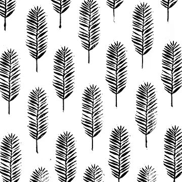 Palm leaves, Nature lover, Linocut pattern by emporiumjulium