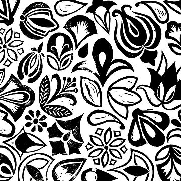 FLOWER GARDEN, floral folksy pattern, Lino cut printed nature inspired hand printed pattern by emporiumjulium