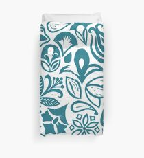 BLUE GARDEN, Blue floral folksy pattern, Lino cut printed nature inspired hand printed pattern Duvet Cover