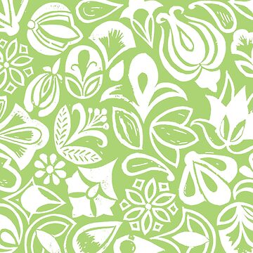 GREEN GARDEN, floral folksy pattern, Lino cut printed nature inspired hand printed pattern by emporiumjulium