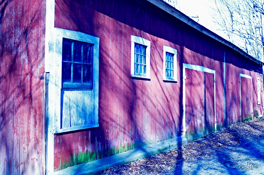 Red Barn in cold winter by wings4me