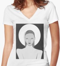 Black and white Fashion Women's Fitted V-Neck T-Shirt