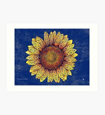 Swirly Sunflower Art Print