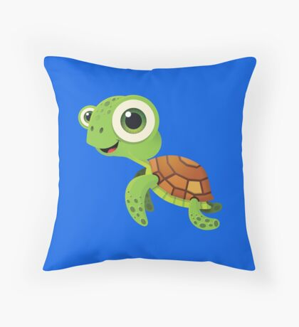 Bubble Heroes - Stu the Turtle Throw Pillow